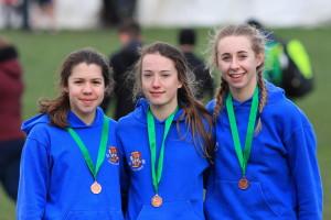 U17 team with their bronze medals: (from left to right) Rosie Allen, Hannah Hobbs, Sophie Reed